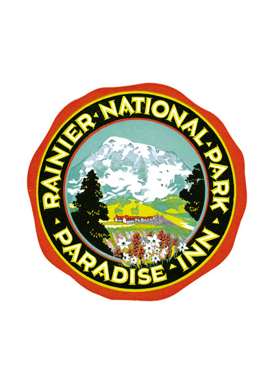 Paradise Inn Rainier Luggage Label Paradise Inn is a historic hotel built in 1916 at 5,400-foot (1,600m) on the south slope of Mount Rainier in Mount Rainier National Park in Washington, United States. The inn is named after Paradise, the area of the mountain in which it is located. The Henry M. Jackson Visitor Center and the 1920 Paradise Guide House are also at this location. The inn and guide house are where many climbers start their ascent of the mountain. The inn is listed in the National Register of Historic Places and is a major component of the Paradise Historic District. Additionally, it is part of the Mount Rainier National Historic Landmark District, which encompasses the entire park and which recognizes the park's inventory of National Park Service rustic architecture.  These prints are made at our location in Seattle, WA. They have a thick, white backing board and are sealed in clear bags. Each is suitable for framing at 11 inches x 14 inches or can be used as is for wall display. Our goal is to bring back to life these wonderful illustrations from old-fashioned, children's books and from early advertising art.