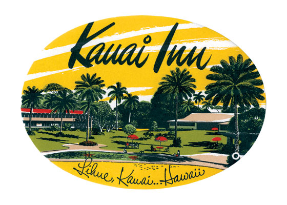 Kauai Inn Luggage Label The Kauai Inn has a rich history from it's opening in 1890 through the present. It was originally called the Fairview Hotel, then renamed the Lihue Hotel in 1925 and named the Kauai Inn in the 1930s, John Wayne and the cast of {Donovan's Reef} used it as their headquarters while filming. Numerous renovations and repairs have keep this historic hotel in good and original condition for the current visitor to enjoy.  These prints are made at our location in Seattle, WA. They have a thick, white backing board and are sealed in clear bags. Each is suitable for framing at 11 inches x 14 inches or can be used as is for wall display. Our goal is to bring back to life these wonderful illustrations from old-fashioned, children's books and from early advertising art.