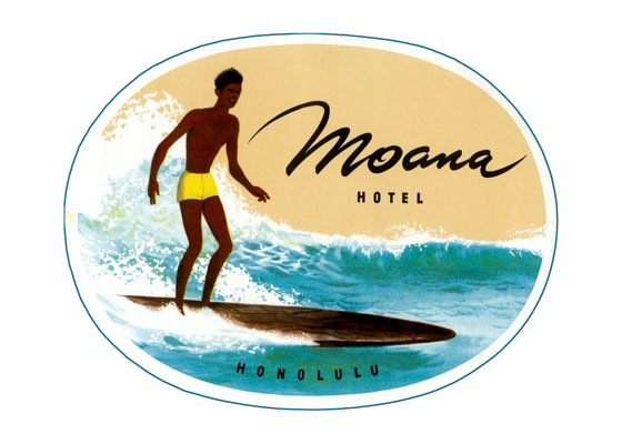 Moana Hotel Luggage Label The Moana Hotel, also known as the First Lady of Waikiki, is a famous historic hotel on the island of Oahu, located at 2365 Kalakaua Avenue in Honolulu, Hawaii. It is today one of three buildings that make up the Moana Surfrider. Built in the late 19th century as the first hotel in Waikiki, the Moana opened its doors to guests in 1901. The Moana Hotel is regarded as the flagship in Hawaii tourism and has been listed on the National Register of Historic Places.  Our blank notecards are custom printed at our location in Seattle, WA. They come bagged with an envelope. We love illustration art from old children's books and early, printed ephemera. These cards reflect this interest in bringing delightful art back to life.