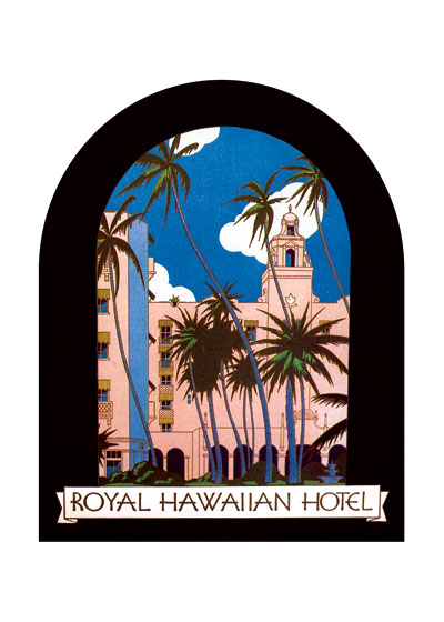 Royal Hawaiian Hotel Luggage Label | Americana Travel Art Prints The Royal Hawaiian Hotel is a beachfront luxury hotel located on Waikiki Beach in Honolulu, Hawaii on the island of Oahu. One of the first hotels established in Waikiki, The Royal Hawaiian is considered one of the most luxurious and famous hotels in Hawaii tourism, and in its nearly 90 year history has been host to numerous celebrities and world dignitaries. The hotel's bright pink hue and prominent location on the beach have earned it the nickname The Pink Palace of the Pacific.