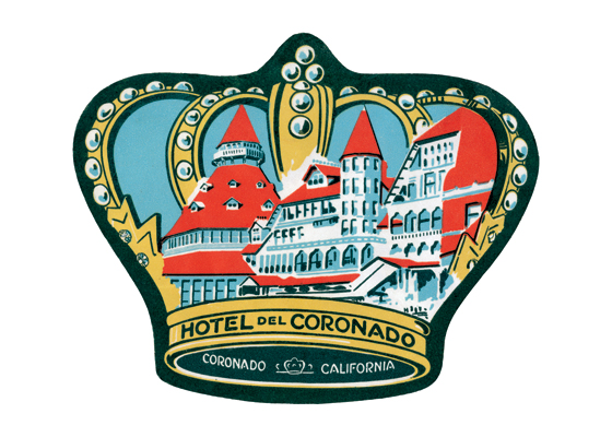 Hotel del Coronado Luggage Label | Americana Travel Art Prints Opened in February 1888, Hotel del Coronado debuted as an architectural masterpiece, acclaimed for its spectacular seaside setting and world-famous weather. Outfitted with electricity and every modern amenity, The Del was a destination resort before the term existed, attracting a wealthy clientele from the Midwest, East Coast, and Europe. These guests  who arrived with their own servants in tow  generally stayed for months at a time.