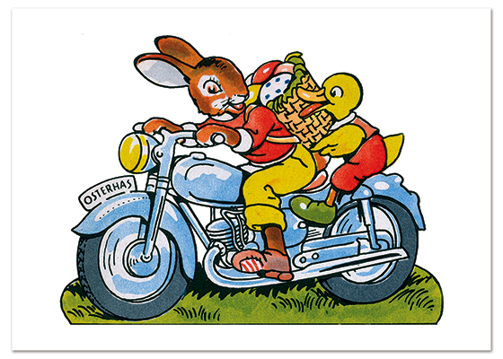 Biker Bunny These prints are made at our location in Seattle, WA. They have a thick, white backing board and are sealed in clear bags. Each is suitable for framing at 11 inches x 14 inches or can be used as is for wall display. Our goal is to bring back to life these wonderful illustrations from old-fashioned, children's books and from early advertising art.