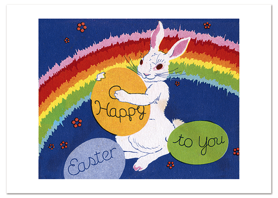 Rainbow Bunny Easter | Easter Greeting Cards This mid-century Easter image is full of joy and color and wonderfully conveys the spirit of the holiday and the spirit of its era.