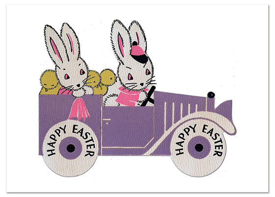 Bunnies on a Sunday Drive Easter | Easter Greeting Cards These bunnies are riding in style, and you will be too with this delightful Eater card.