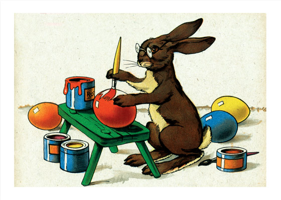 The Easter Rabbit Painting Eggs Easter  INSIDE GREETING: Happy Easter\  This delightfully serious rabbit tending to his Easter eggs comes to us from a German picture book of the early 20th century.