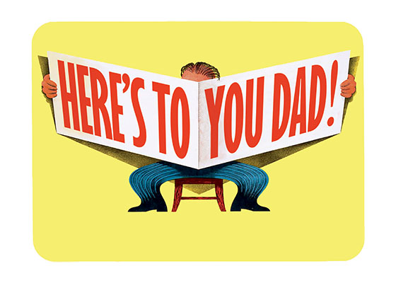 Reading a Giant Newspaper  INSIDE GREETING: Happy Father's Day  Throwback style for the throwback dad in your life? This Dutch advertising image is full of style and humor and makes a great Father's Day card.