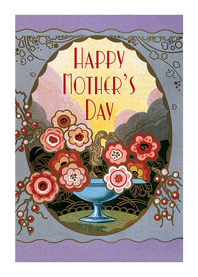 Art Nouveau Perfume Label Mother's Day | Mother's Day Greeting Cards Give mom a beautiful vase of flowers with this lovely Art Nouveau greeting card.