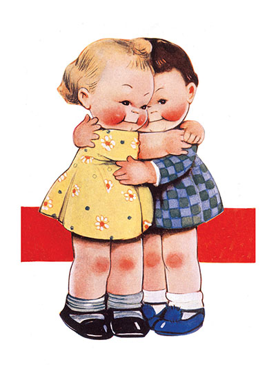 Sweet Hugs Friendship These prints are made at our location in Seattle, WA. They have a thick, white backing board and are sealed in clear bags. Each is suitable for framing at 11 inches x 14 inches or can be used as is for wall display. Our goal is to bring back to life these wonderful illustrations from old-fashioned, children's books and from early advertising art.