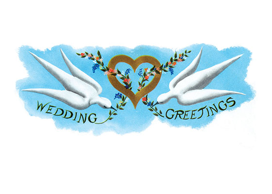 Doves and Heart Wedding | Wedding Greeting Cards Doves and hearts - two vital symbols of weddings - make this a delightfully apropos wedding card.