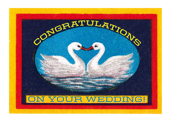 Swans and Heart  OUTSIDE GREETING: Congratulations on Your Wedding  BLANK INSIDE  Swans are said to mate for life, and thus are very appropriate to a wedding greeting.  Our greeting cards are custom printed at our location in Seattle, WA. They come bagged with an envelope. We love illustration art from old children's books and early, printed ephemera. These cards reflect this interest in bringing delightful art back to life.