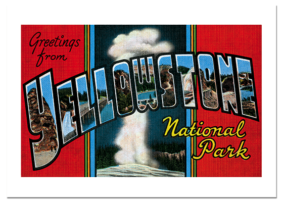Greetings from Yellowstone | Americana Travel Greeting Cards A Big-Letter postcard from Yellowstone National Park.  Folders with a cover image like this were commonly sold containing a number of postcards of scenes of the park.