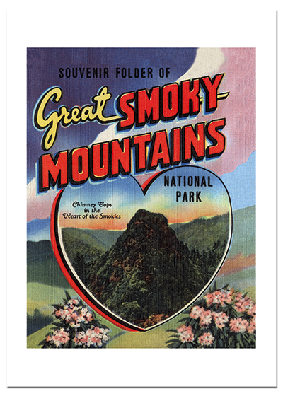 Smoky Mountains Souvenir | Americana Travel Greeting Cards The Great Smoky Mountains National Park was foundedor rather a beautiful part of our Southern Appalachian Mountains was designated a National Parkin 1940.  So this year is its seventy-fifth birthday.