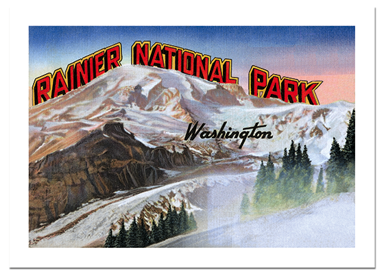 Rainier National Park Postcard Mount Rainier National Park was the first national park created from a National Forest. President William McKinley authorized this creation in 1899.