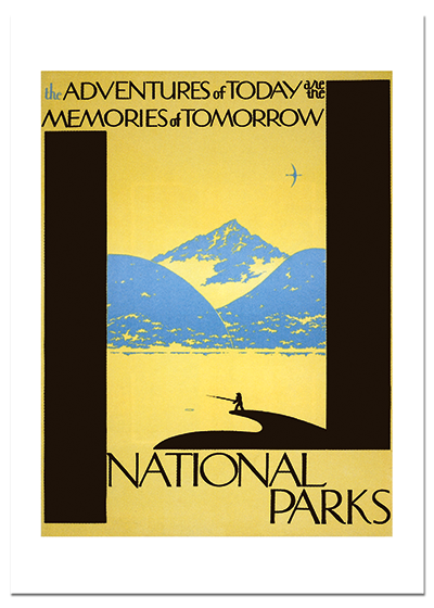 National Park Fisherman This poster was designed to attract fishermen to experience the pursuit of their pastime in the beautiful surroundings of the national parks.