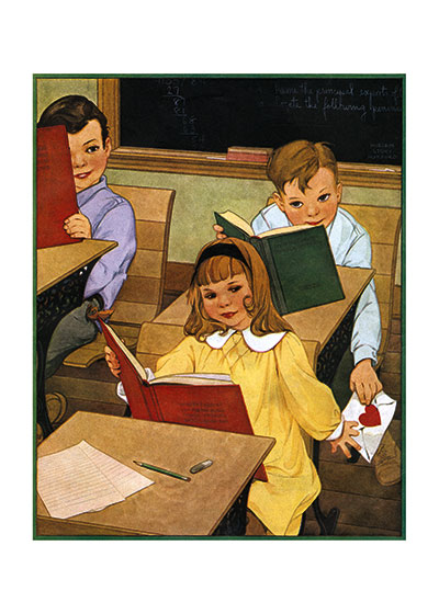 Schoolroom Valentine | Magazine Art Valentine's Day Greeting Cards Passing a valentine to the object of affection.  From the cover of a children's magazine.