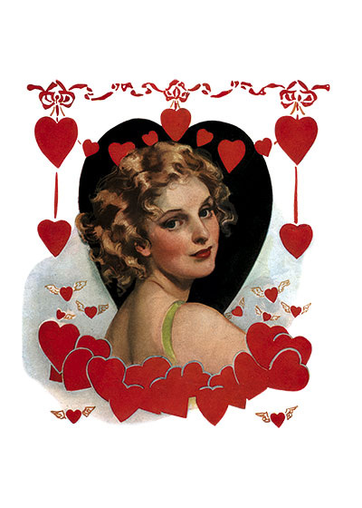 Valentine Sweetheart Portrait These prints are made at our location in Seattle, WA. They have a thick, white backing board and are sealed in clear bags. Each is suitable for framing at 11 inches x 14 inches or can be used as is for wall display. Our goal is to bring back to life these wonderful illustrations from old-fashioned, children's books and from early advertising art.