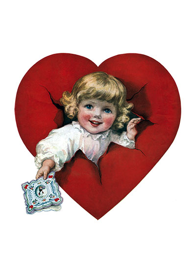 Baby Offers a Valentine This beautiful baby breaks though a heart to offer us a valentine.  From a magazine cover illustration.  Blank inside.  Our greeting cards are custom printed at our location in Seattle, WA. They come bagged with an envelope. We love illustration art from old children's books and early, printed ephemera. These cards reflect this interest in bringing delightful art back to life.