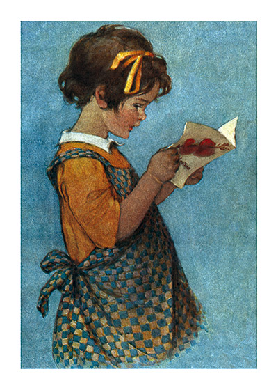 Girl in a Pinafore with a Valentine This painting was made for a magazine cover by the renowned illustrator of children, Jessie Willcox Smith.  Blank inside.  Our greeting cards are custom printed at our location in Seattle, WA. They come bagged with an envelope. We love illustration art from old children's books and early, printed ephemera. These cards reflect this interest in bringing delightful art back to life.