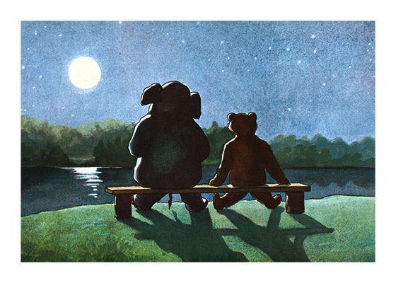 Friends Enjoying the Moon A wonderful image of friends enjoying a moonlit night. From a French children's book entitled {Martin et Tommy s'installment}.  These prints are made at our location in Seattle, WA. They have a thick, white backing board and are sealed in clear bags. Each is suitable for framing at 11 inches x 14 inches or can be used as is for wall display. Our goal is to bring back to life these wonderful illustrations from old-fashioned, children's books and from early advertising art.