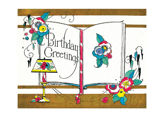 Birthday Greetings  OUTSIDE GREETING: Birthday Greetings  BLANK INSIDE  Our greeting cards are custom printed at our location in Seattle, WA. They come bagged with an envelope. We love illustration art from old children's books and early, printed ephemera. These cards reflect this interest in bringing delightful art back to life.