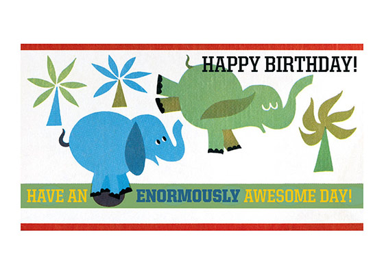 Hopping Elephants  OUTSIDE GREETING: Happy Birthday! INSIDE GREETING: Have an Enormously Awesome Day!  Our greeting cards are custom printed at our location in Seattle, WA. They come bagged with an envelope. We love illustration art from old children's books and early, printed ephemera. These cards reflect this interest in bringing delightful art back to life.
