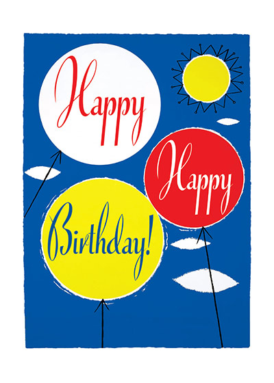Three Balloons  OUTSIDE GREETING: Happy Happy Birthday  BLANK INSIDE  Our greeting cards are custom printed at our location in Seattle, WA. They come bagged with an envelope. We love illustration art from old children's books and early, printed ephemera. These cards reflect this interest in bringing delightful art back to life.