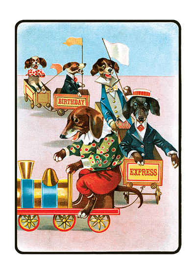 Dachsunds on a Train | Birthday Greeting Cards