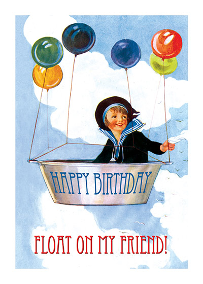 Boy Lifted by Balloons | Birthday Greeting Cards