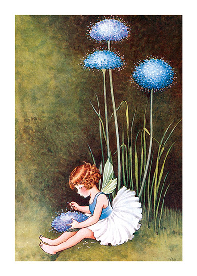 Baby Fairy  BLANK INSIDE)  Our greeting cards are custom printed at our location in Seattle, WA. They come bagged with an envelope. We love illustration art from old children's books and early, printed ephemera. These cards reflect this interest in bringing delightful art back to life.  Ida Rentoul Outhwaite (1888 - 1960) was an Australian illustrator of children's books. She was masterful at depicting fairies and the natural world. Her books include Elves and Fairies (1916),  The Enchanted Forest (1921)and Blossom: A Fairy Story (1928).