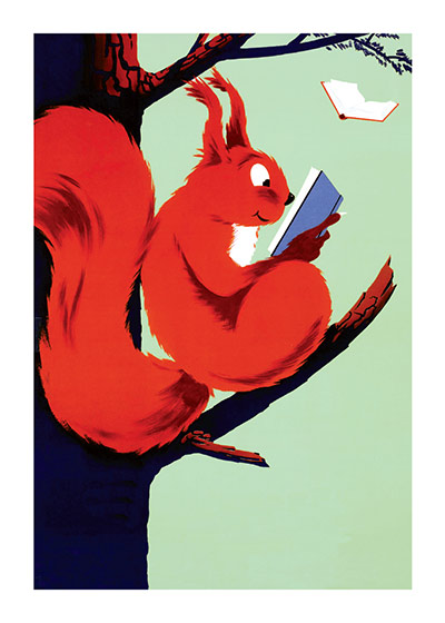"Squirrel Reading | Books and Readers Greeting Cards ""(6 cards individually bagged with envelopes and header) INSIDE GREETING: Books are the quietest and most constant of friends; they are the most accessible and wisest of counselors, and the most patient of teachers."""