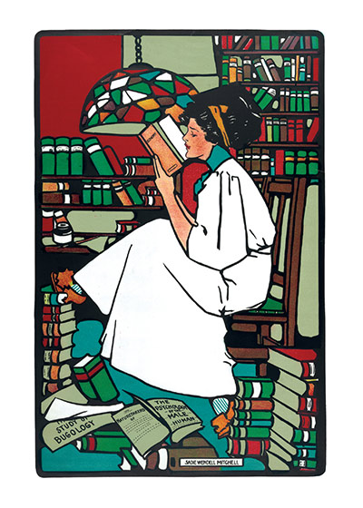 Girl Reading in a Library These prints are made at our location in Seattle, WA. They have a thick, white backing board and are sealed in clear bags. Each is suitable for framing at 11 inches x 14 inches or can be used as is for wall display. Our goal is to bring back to life these wonderful illustrations from old-fashioned, children's books and from early advertising art.