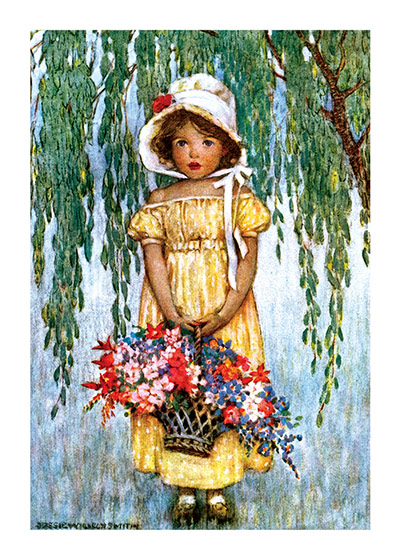 Little Girl with a Basket of Flowers  INSIDE GREETING: Thank You My Friend  Our greeting cards are custom printed at our location in Seattle, WA. They come bagged with an envelope. We love illustration art from old children's books and early, printed ephemera. These cards reflect this interest in bringing delightful art back to life.