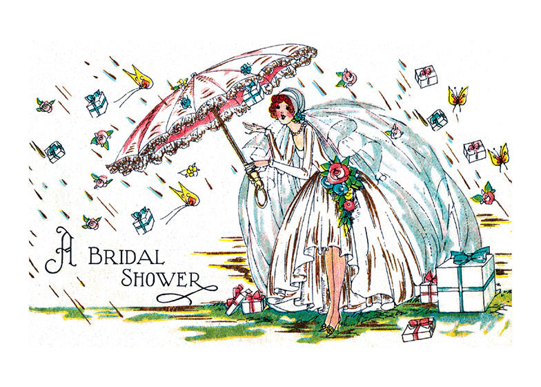 Bride with an Umbrella  OUTSIDE GREETING: A Bridal Shower  INSIDE GREETING: With Warmest Wishes for the Beautiful Bride to Be!  Our greeting cards are custom printed at our location in Seattle, WA. They come bagged with an envelope. We love illustration art from old children's books and early, printed ephemera. These cards reflect this interest in bringing delightful art back to life.