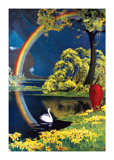 Swan and Rainbow  INSIDE GREETING: In caring sympathy  Our greeting cards are custom printed at our location in Seattle, WA. They come bagged with an envelope. We love illustration art from old children's books and early, printed ephemera. These cards reflect this interest in bringing delightful art back to life.