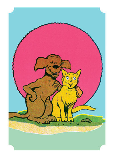 Dog and Cat in front of a Red Sun | Friendship Art Prints These prints are made at our location in Seattle, WA. They have a thick, white backing board and are sealed in clear bags. Each is suitable for framing at 11 inches x 14 inches or can be used as is for wall display. Our goal is to bring back to life these wonderful illustrations from old-fashioned, children's books and from early advertising art.