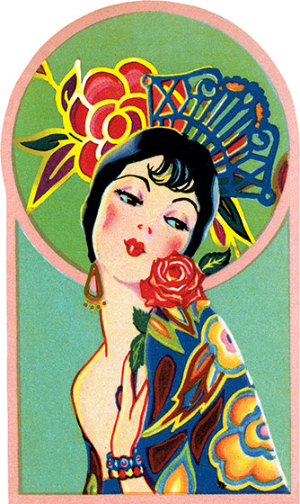 Spanish Senorita An exotic lady with a fancy rose and Spanish comb. This image comes from a bridge tally. These beautiful cards were created in the1920s and '30s when ladies' bridge parties were all the rage. They were a fancy and decorative way to keep score, and have a souvenir of a entertaining social event. We have reproduced them as they were originally: die-cut and embellished with gold foil. We provide a dark card with a deco pattern which makes an ideal background to frame or otherwise display the image, and decorative envelope so that one of these lovely cards can be shared with a friend.