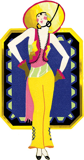 Beach Lady A beach-going sophisticate with her blanket shown abstractly behind her. This image comes from a bridge tally. These beautiful cards were created in the1920s and '30s when ladies' bridge parties were all the rage. They were a fancy and decorative way to keep score, and have a souvenir of a entertaining social event. We have reproduced them as they were originally: die-cut and embellished with gold foil. We provide a dark card with a deco pattern which makes an ideal background to frame or otherwise display the image, and decorative envelope so that one of these lovely cards can be shared with a friend.