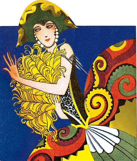 Lady With a Yellow Fan  BLANK INSIDE  Dressed for a costume ball, perhaps? This image comes from a bridge tally. These beautiful cards were created in the1920s and '30s when ladies' bridge parties were all the rage. They were a fancy and decorative way to keep score, and have a souvenir of a entertaining social event. We have reproduced them as they were originally: die-cut and embellished with gold foil. We provide a dark card with a deco pattern which makes an ideal background to frame or otherwise display the image, and decorative envelope so that one of these lovely cards can be shared with a friend.