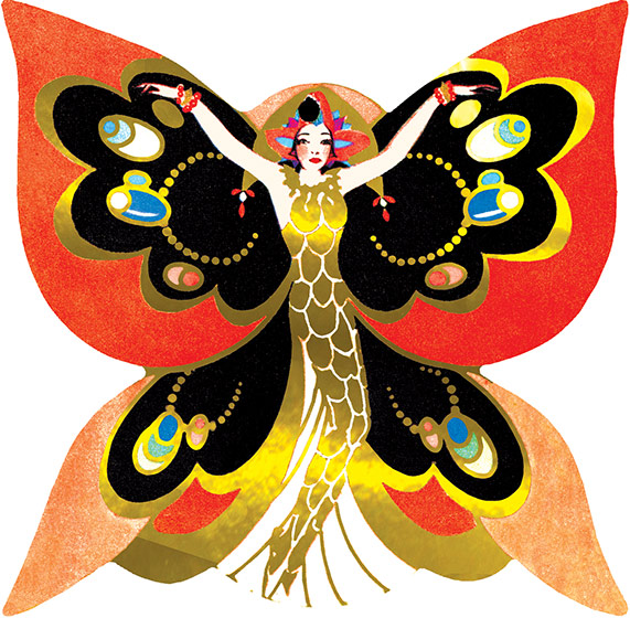 Butterfly Lady | Art Deco Ladies Greeting Cards Is this a lady in costume or a personified butterfly? This image comes from a bridge tally. These beautiful cards were created in the1920s and '30s when ladies' bridge parties were all the rage. They were a fancy and decorative way to keep score, and have a souvenir of a entertaining social event. We have reproduced them as they were originally: die-cut and embellished with gold foil. We provide a dark card with a deco pattern which makes an ideal background to frame or otherwise display the image, and decorative envelope so that one of these lovely cards can be shared with a friend.
