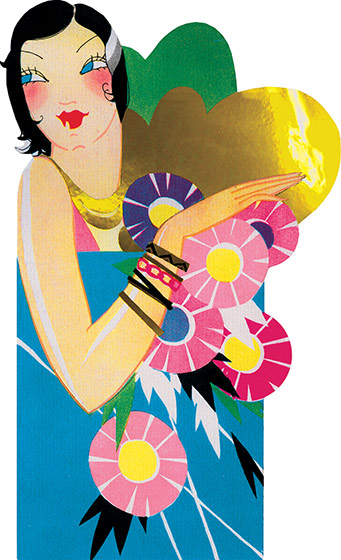 Flapper With Bracelet and Flowers | Art Deco Ladies Greeting Cards A very abstractly rendered lady with spit curls and paper-looking flowers.This image comes from a bridge tally. These beautiful cards were created in the1920s and '30s when ladies' bridge parties were all the rage. They were a fancy and decorative way to keep score, and have a souvenir of a entertaining social event. We have reproduced them as they were originally: die-cut and embellished with gold foil. We provide a dark card with a deco pattern which makes an ideal background to frame or otherwise display the image, and decorative envelope so that one of these lovely cards can be shared with a friend.