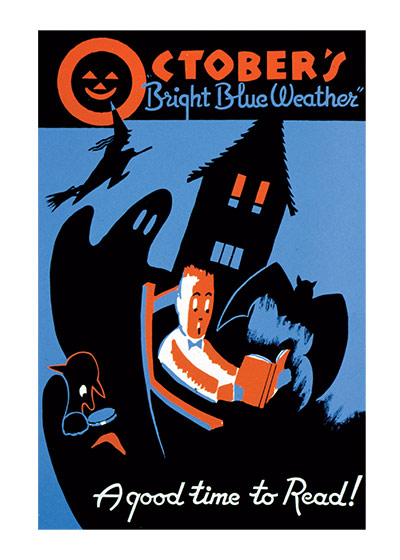 Halloween Reading | Classic Halloween Greeting Cards A wondreful WPA poster that celebrates reading and Halloween at the same time.
