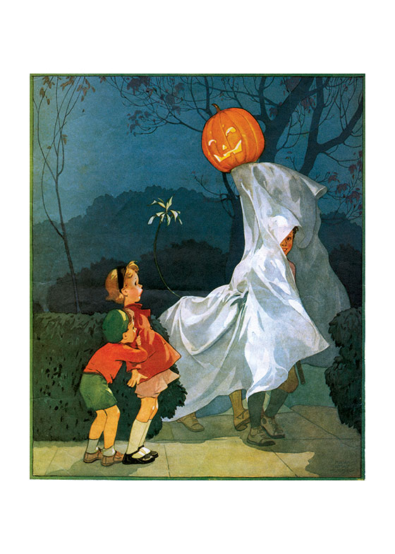 Who's That Big Ghost? These two  children are obviously not sure what to make of this huge ghost with a pumpkin head.
