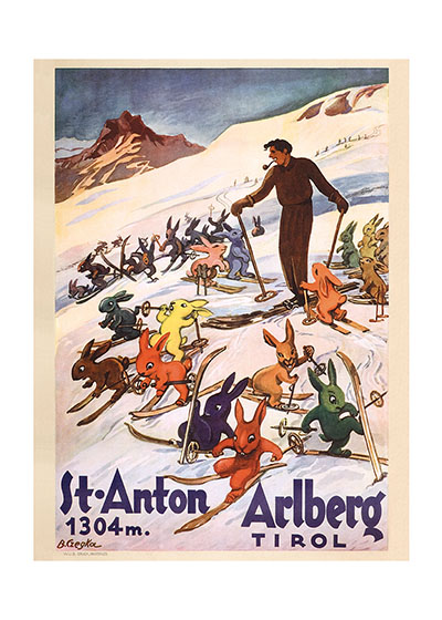 Rabbits Learn to Ski A delightful image of some youthful rabbits getting ski instruction in the Austrian alps. This was made as a poster for the St. Anton resort in the Tyrol.  Our blank notecards are custom printed at our location in Seattle, WA. They come bagged with an envelope. We love illustration art from old children's books and early, printed ephemera. These cards reflect this interest in bringing delightful art back to life.