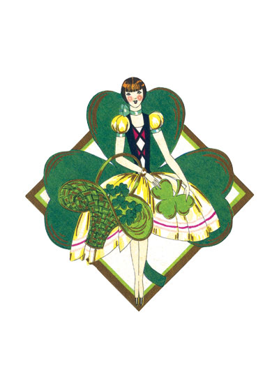 Shamrock Girl in a Decorative Diamond This stylish Art Deco lady originally graced a bridge tally, but she makes an attractive way to wish someone good luck and a Happy St. Paddy's Day.   INSIDE GREETING: Happy St. Patrick's Day!  .  Our notecards are custom printed at our location in Seattle, WA. They come bagged with an envelope.