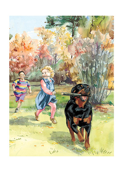 Carl Running in Park (Signed) These prints are made at our location in Seattle, WA. They have a thick, white backing board and are sealed in clear bags. Each is suitable for framing at 11 inches x 14 inches or can be used as is for wall display. This image comes from the book Follow Carl!.  This print is signed by Alexandra Day and with a stamp-print of the real Carl's paw.