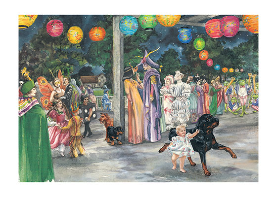 Carl Dancing at Party These prints are made at our location in Seattle, WA. They have a thick, white backing board and are sealed in clear bags. Each is suitable for framing at 11 inches x 14 inches or can be used as is for wall display. This image comes from the book Carl's Masquerade.