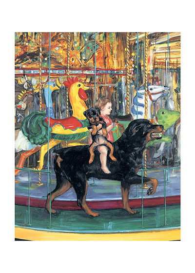 Carl on Merry-go-Round (Signed) These prints are made at our location in Seattle, WA. They have a thick, white backing board and are sealed in clear bags. Each is suitable for framing at 11 inches x 14 inches or can be used as is for wall display. This image comes from the book Carl's Afternoon In The Park.  This print is signed by Alexandra Day and with a stamp-print of the real Carl's paw.