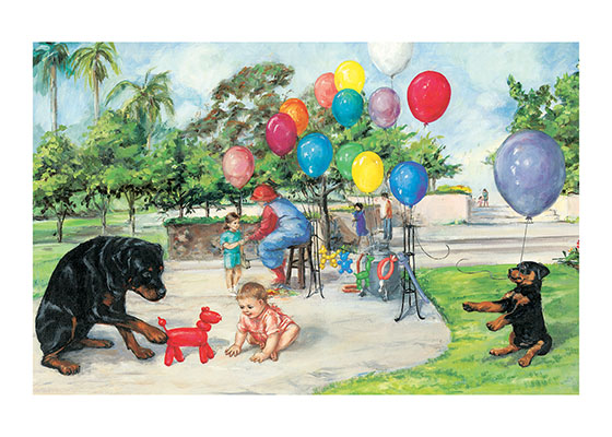 Carl And Balloons (Signed) These prints are made at our location in Seattle, WA. They have a thick, white backing board and are sealed in clear bags. Each is suitable for framing at 11 inches x 14 inches or can be used as is for wall display. This image comes from the book Carl's Afternoon In The Park.  This print is signed by Alexandra Day and with a stamp-print of the real Carl's paw.