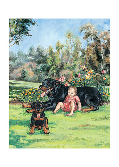 Carl & Puppy in Park  BLANK INSIDE  Our blank notecards are custom printed at our location in Seattle, WA. They come bagged with an envelope. We love illustration art from old children's books and early, printed ephemera. These cards reflect this interest in bringing delightful art back to life