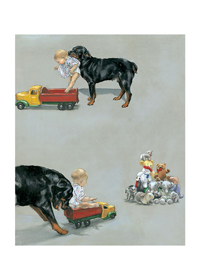 Carl & Toy Wagon  | Good Dog, Carl Art Prints These prints are made at our location in Seattle, WA. They have a thick, white backing board and are sealed in clear bags. Each is suitable for framing at 11 inches x 14 inches or can be used as is for wall display. This image comes from the book Carl Goes Shopping.